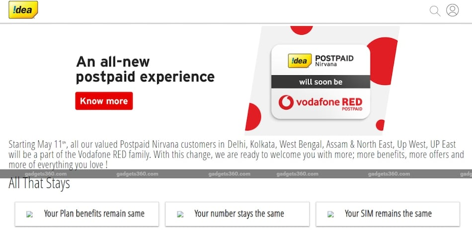 Idea Nirvana Postpaid to Become Vodafone RED Postpaid in Eight Telecom Circles Starting May 11