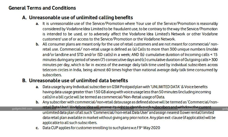 Vodafone Restricts Commercial Use of Unlimited RedX Postpaid Plan, Announces Rs. 3,000 Fine