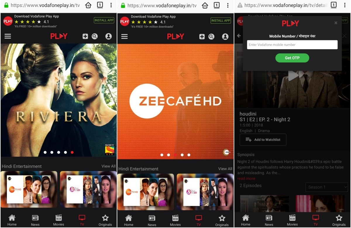 Vodafone Play Mobile Website Launched, Offers Live TV and Video on Demand