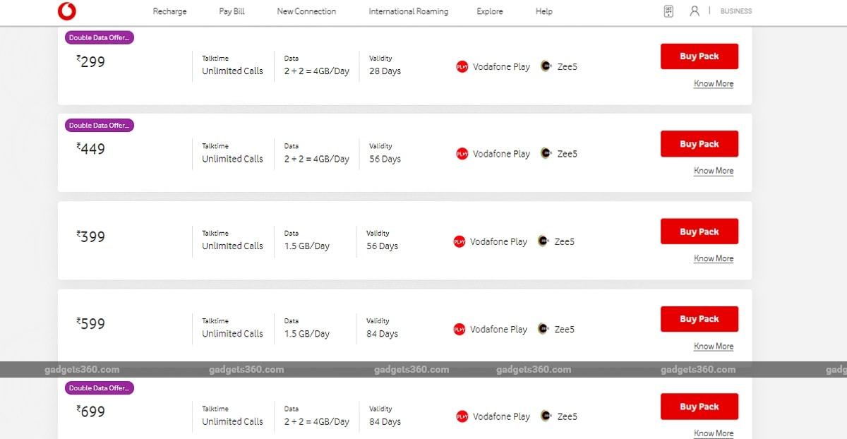399 रुपये और 599 रुपये वाले प्रीपेड रीचार्ज में अब नहीं मिलेंगा डबल डेटा : Vodafone Idea
