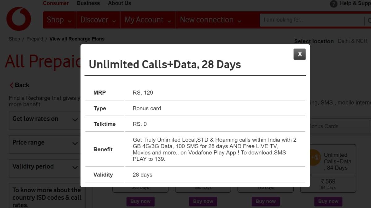 vodafone rs 129 prepaid recharge plan gadgets 360 Vodafone