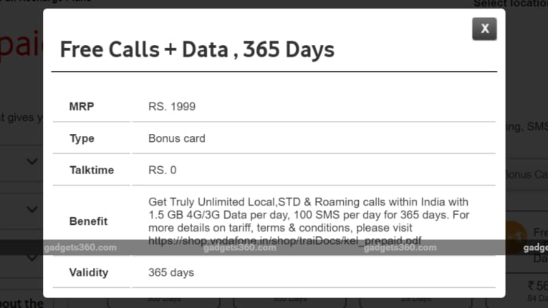 vodafone rs 1999 prepaid recharge plan gadgets 360 Vodafone