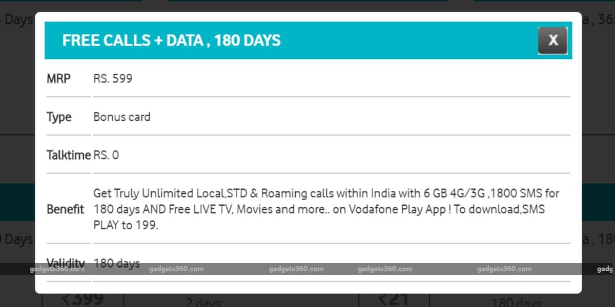 vodafone rs 599 prepaid recharge plan gadgets 360 Vodafone