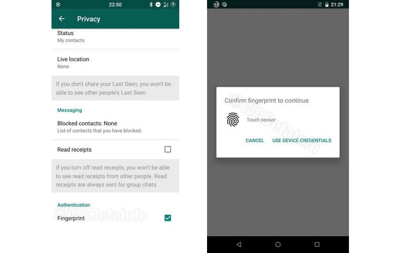 whatapp fingerprint two screenshots wabetainfo WABetaInfo