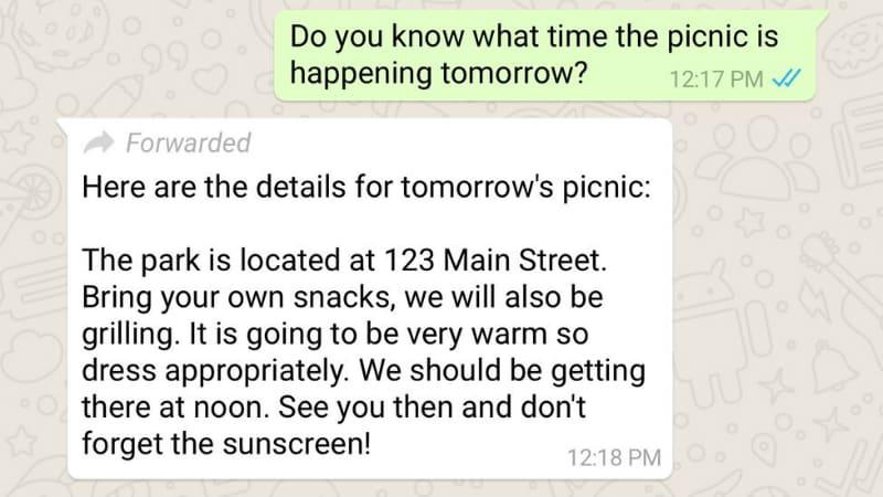 WhatsApp पर फॉरवर्ड किए गए मैसेज को पहचानना हुआ आसान