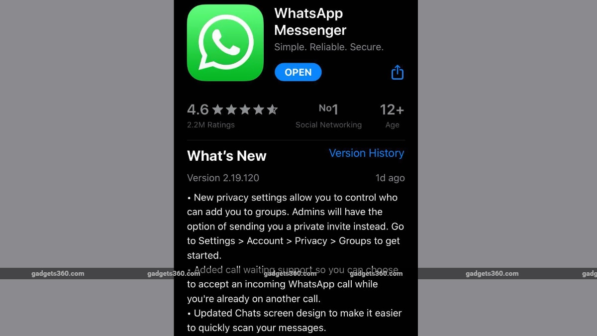 WhatsApp for iPhone Update Brings Call Waiting Support, Chat Screen Redesign, More