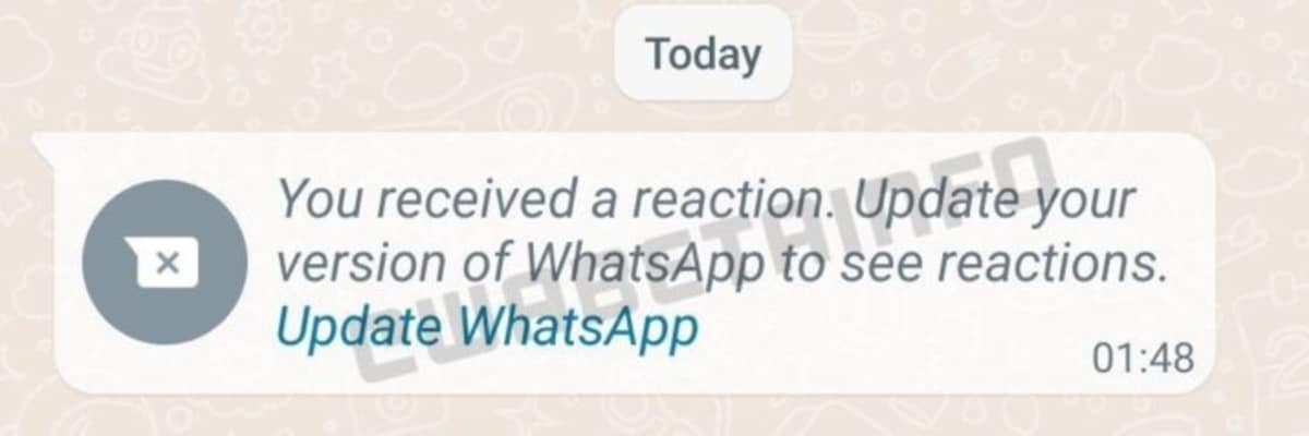 whatsapp message reactions update screenshot wabetainfo WhatsApp