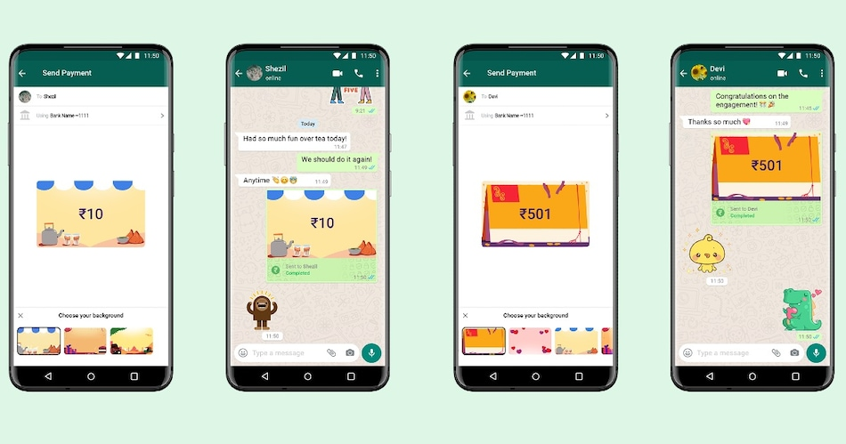 WhatsApp Introduces Payments Backgrounds to Let You Personalise Money Transfers With Friends, Family
