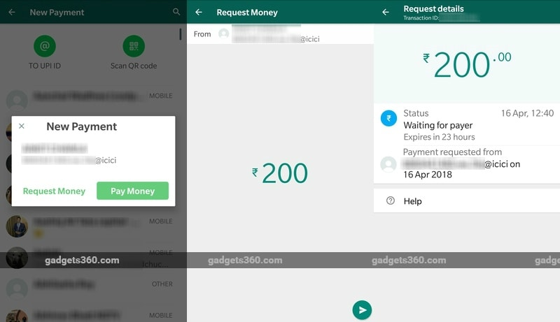 whatsapp payments request money screenshots one gadgets 360 whatsapp