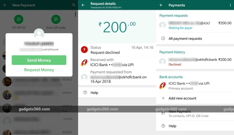 whatsapp payments request money screenshots two new gadgets 360