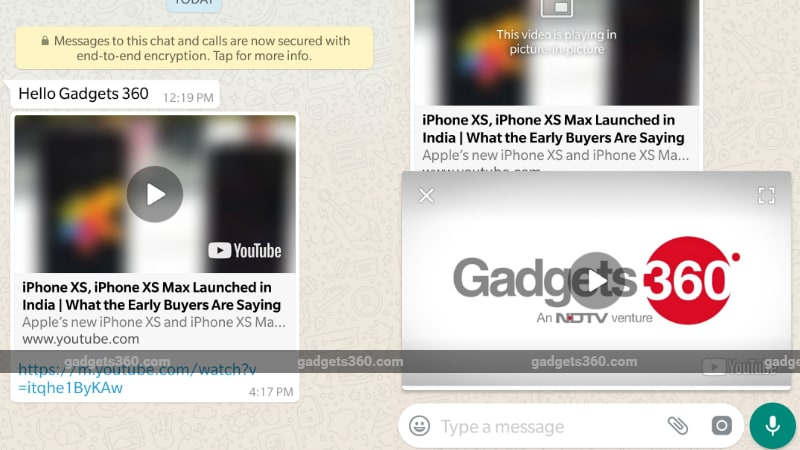 WhatsApp for Android Gets Picture-in-Picture Mode for Watching Instagram, YouTube, Facebook Videos In-App