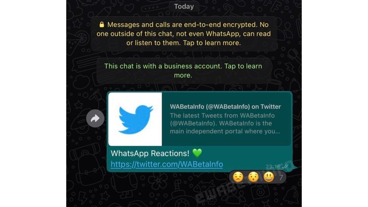 screenshot of Whatsapp reactions wabetainfo WhatsApp