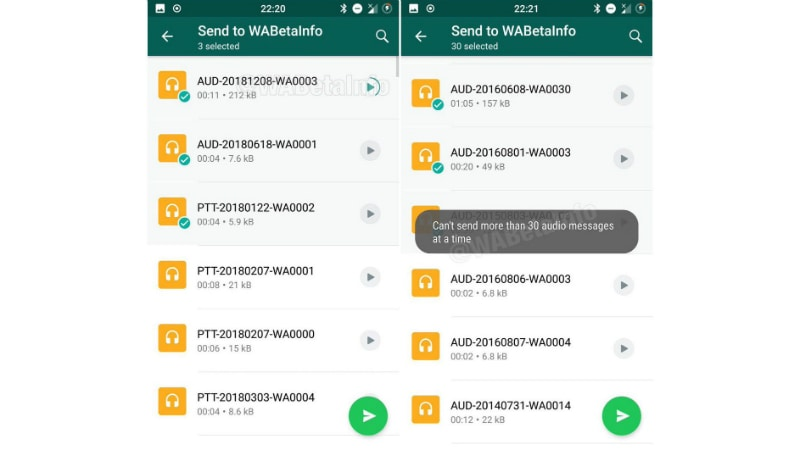 whatsapp redesigned audio files section twitter wabetainfo