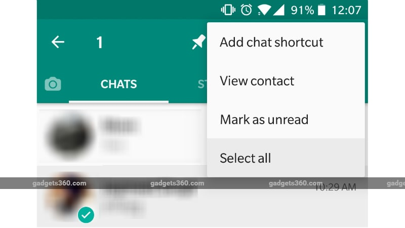 whatsapp select all option WhatsApp