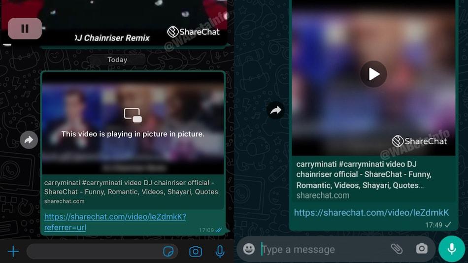WhatsApp बीटा यूज़र्स अब देख पाएंगे पिक्चर-इन-पिक्चर मोड में ShareChat वीडियो