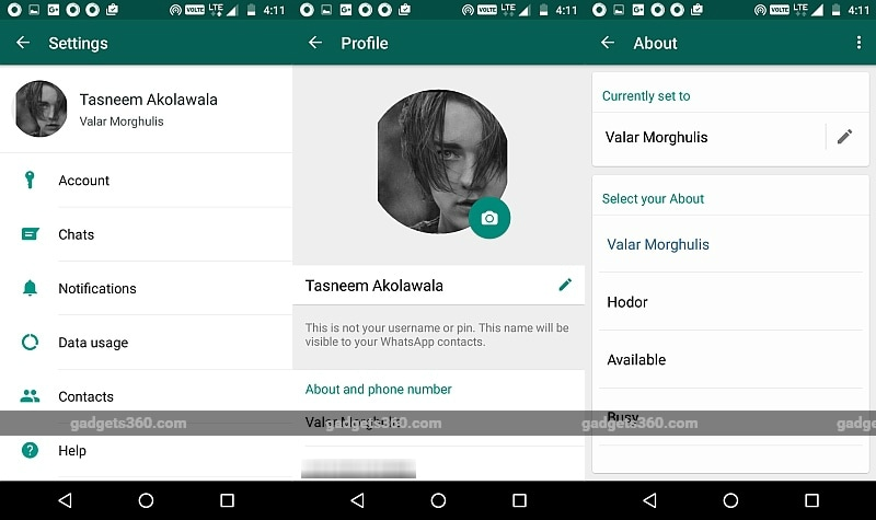 WhatsApp Text Status Makes a Return in 'About' With Android Beta