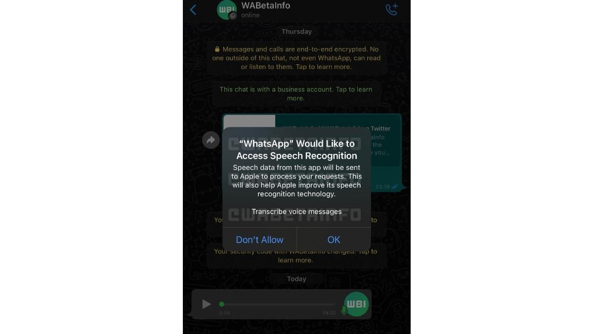 whatsapp mensagem de voz transcrição imagem captura de tela wabetainfo WhatsApp para iOS WhatsApp