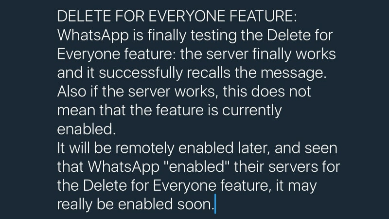 WhatsApp Testing 'Delete for Everyone' Feature on Android and iOS, Launch Imminent: Report
