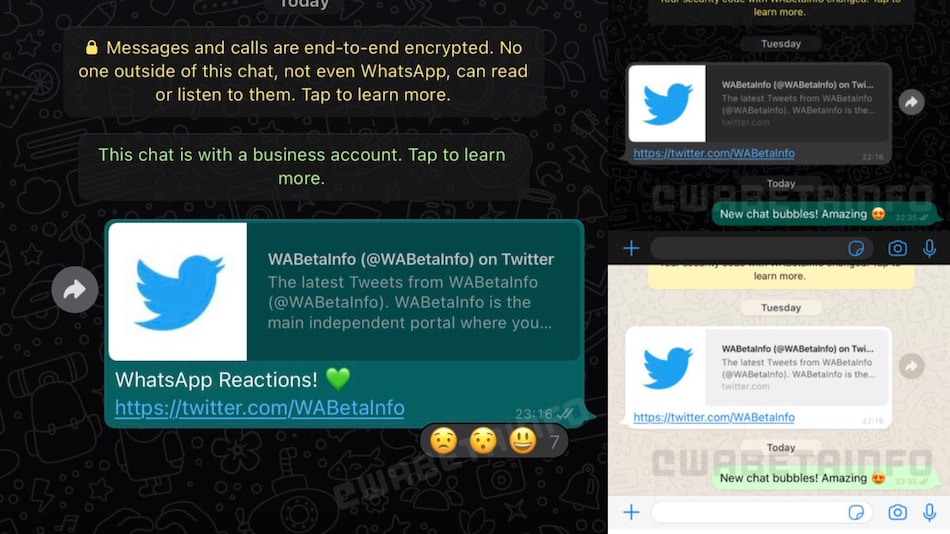 WhatsApp Emoji Reactions Spotted, Chat Bubble Redesign Seen on iOS Too