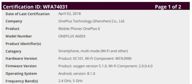 OnePlus 6 Wi-fi certification