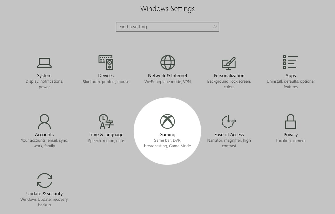 windows 10 settings Windows 10 Settings Gaming