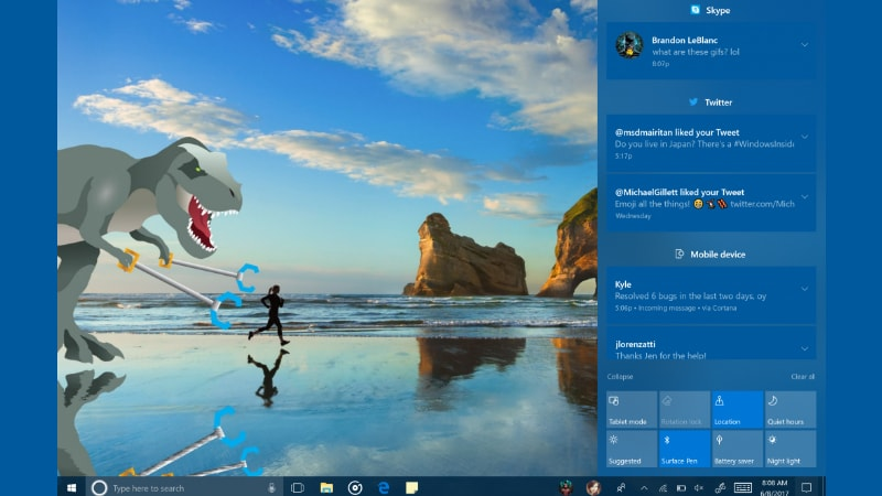 Windows 10 Preview Build Shows Off Upcoming Features, Including Redesigned Action Center