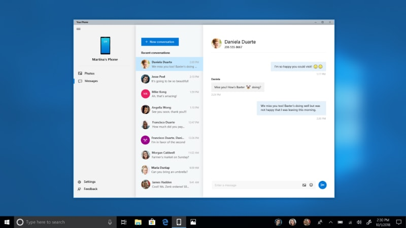 Windows 10 Insider Preview Build 17755 Brings SMS Support for 'Your Phone', Bug Fixes