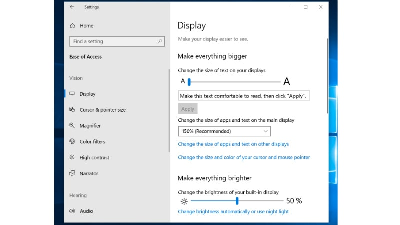 windows ease of access Windows 10