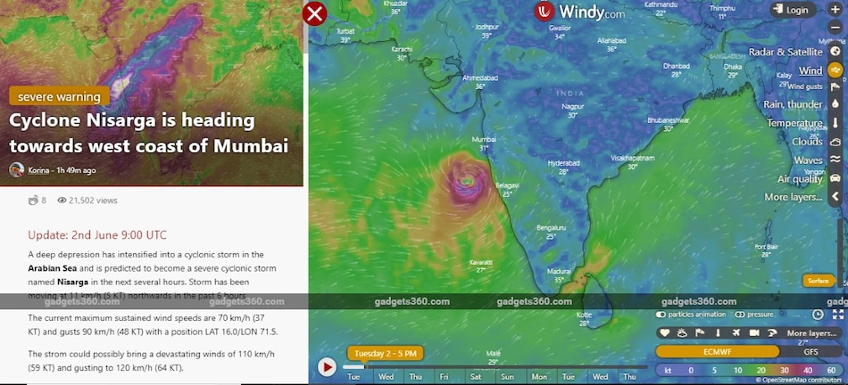 Cyclone Nisarga: Windy.com Shows You What to Expect, Cyclone Expected to Make Landfall June 3