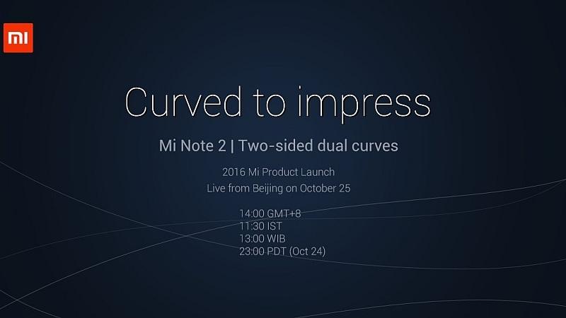 Xiaomi Mi Note 2 Launch Confirmed for October 25