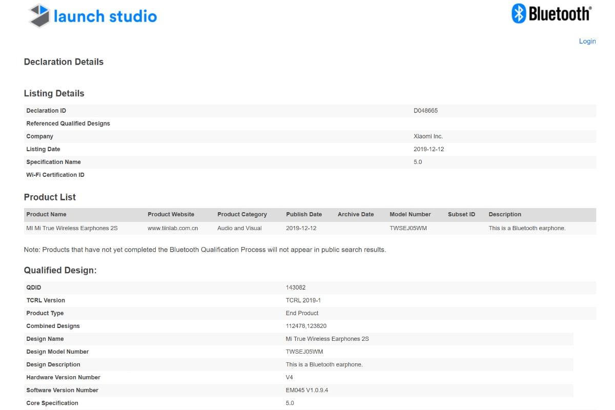 xiaomi mi true earphones 2s certification listing bluetooth sig Xiaomi Mi Wireless Earphones 2S