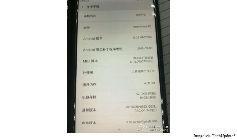 Xiaomi Redmi Note 4X Leak Tips Qualcomm Snapdragon 653 SoC 4GB Of RAM