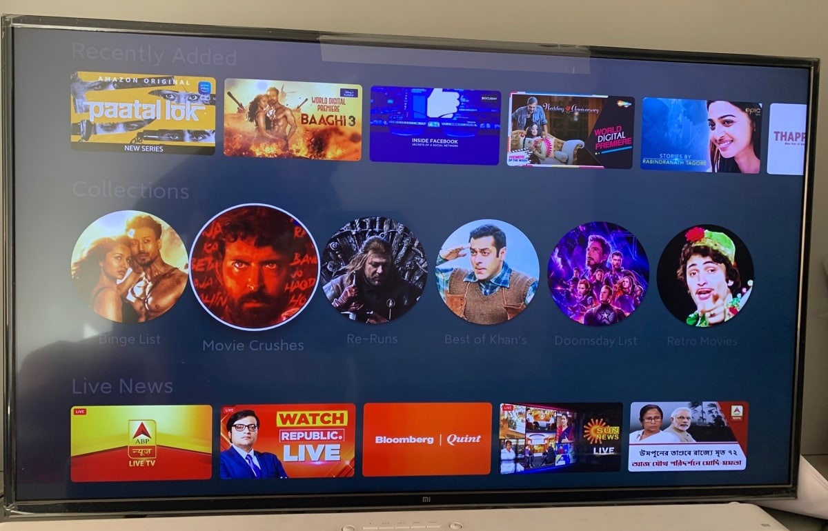 PatchWall on Mi TV Gets New 'Collections' Feature in India to Highlight Curated Content