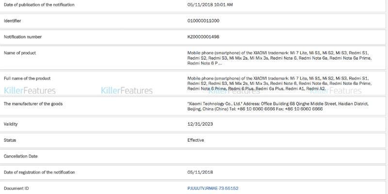 xiaomi phones killerfeatures Xiaomi  Xiaomi Mi 7 lite  Xiaomi Mi S1  Xiaomi Mi S2  Xiaomi Mi S3  Xiaomi Redmi S1  Xiaomi Redmi S3  Xiaomi Mi Mix 3s  Xiaomi Redmi Note 6  Xiaomi Redmi Note 6A  Redmi Note 6a Prime  Redmi Note 6 Prime  Redmi 6a Plus  Redmi A1  Redmi A2