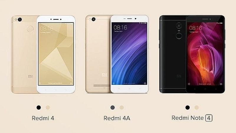 Xiaomi Redmi 4A, Redmi 4 और Redmi Note 4 आाज प्री-ऑर्डर के लिए उपलब्ध होंगे
