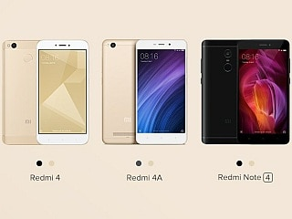 Xiaomi Redmi 4A, Redmi 4, Redmi Note 4 to Be Made Available for Pre-Orders in India Today