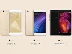 Xiaomi Redmi 4A, Redmi 4 और Redmi Note 4 की प्री-ऑर्डर बुकिंग आज