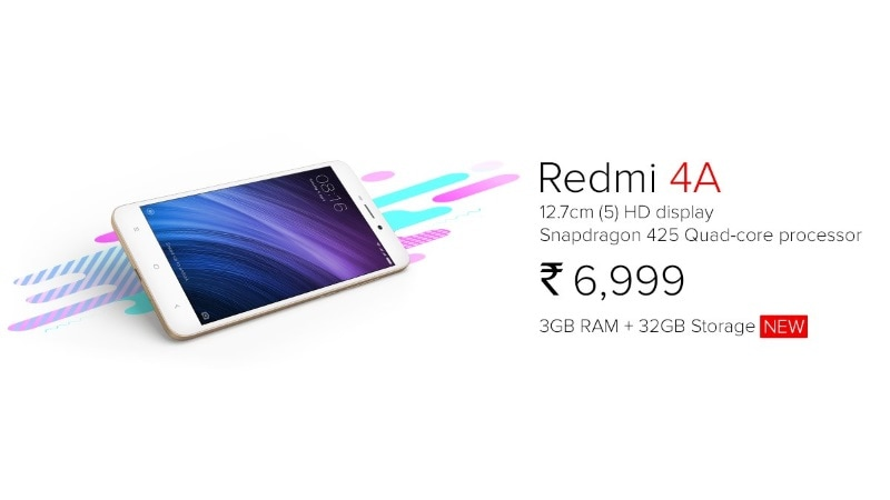 Xiaomi Redmi 4A with 3GB RAM, 32GB internal storage launched in India for Rs. 6999