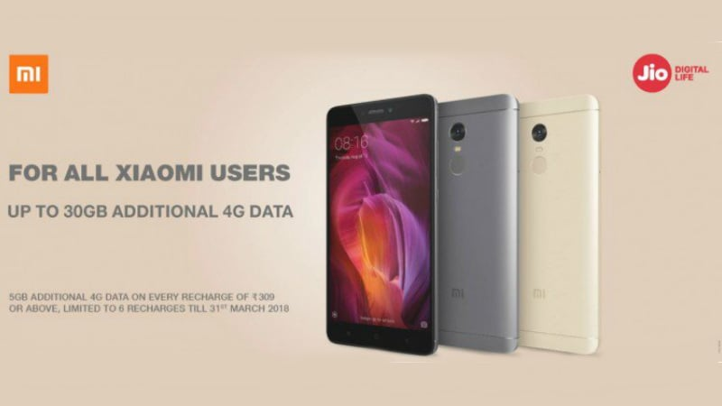 Reliance Jio Offers Up to 30GB Additional 4G Data on Select Xiaomi Smartphones