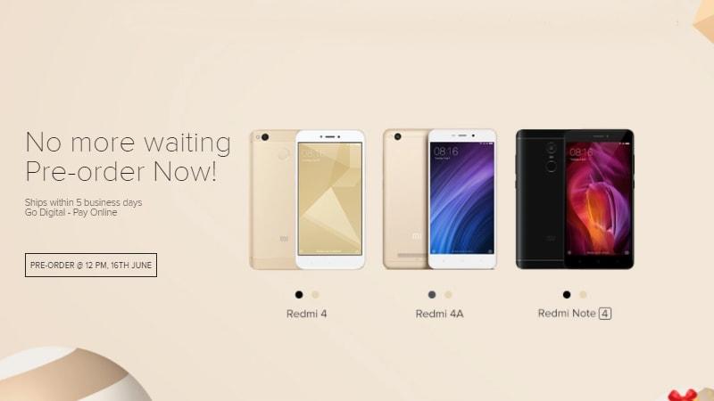 Xiaomi Redmi Note 4, Redmi 4, Redmi 4A स्मार्टफोन आज प्री-ऑर्डर के लिए होंगे उपलब्ध