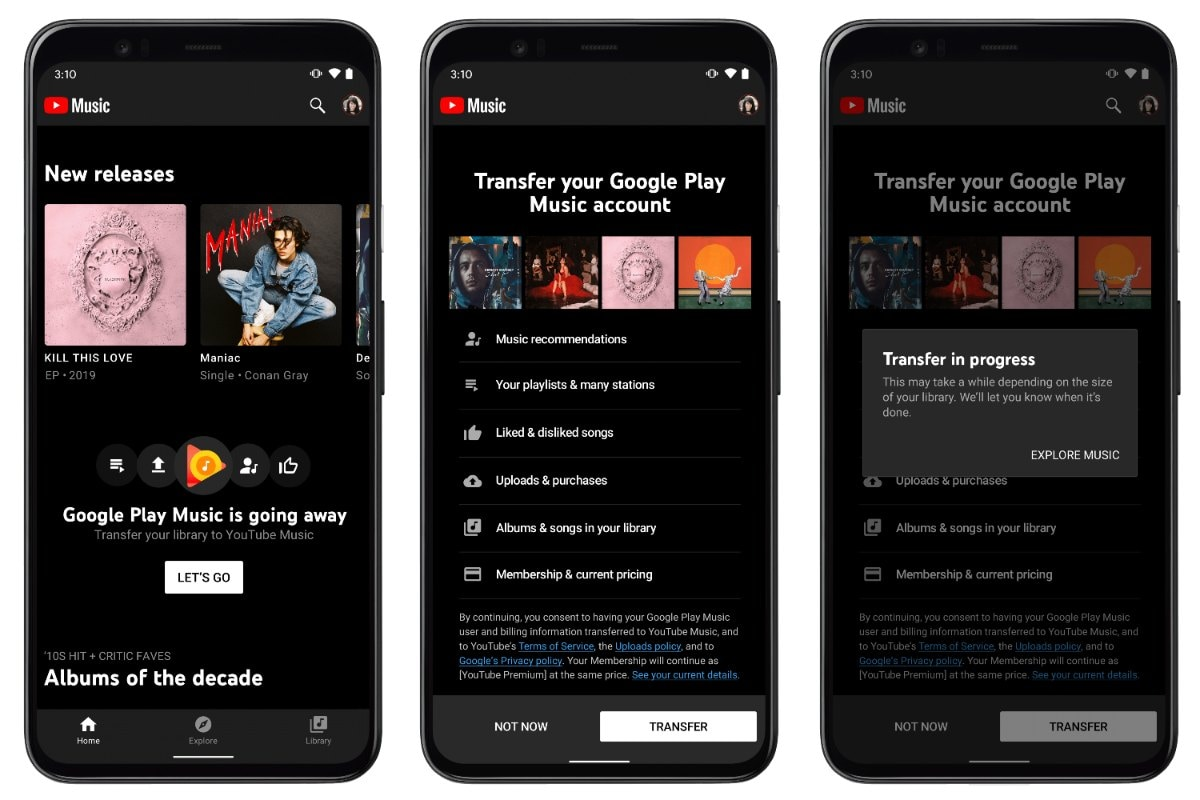 youtube music google play music transfer image YouTube Music  Google Play Music