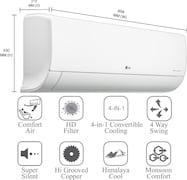 LG 1.5 Ton 5 Star Dual Inverter Split AC (Copper Condenser, LS-Q18YNZA, White)