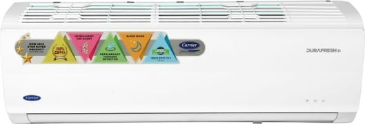 Carrier 1 Ton 3 Star Split AC (Copper Condensor, 12K DURAFRESH, White)