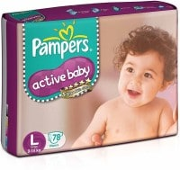 Pampers Active Baby Diapers (78 PCS, L)