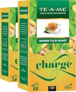 TE-A-ME Charge Ginger Tulsi Honey Herbal Tea (50GM, Pack of 2, 50 Pieces)