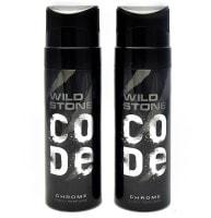Wild Stone Code Chrome No Gas Deodorant (120ML, Pack of 2)