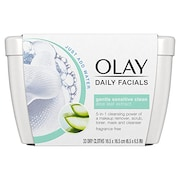 Olay Daily Sensitive Cleansing Cloths Tub With Aloe Extract (Pack of 12)