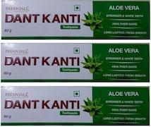 Patanjali Dant Kanti Aloe Vera Toothpaste (80GM, Pack of 3)