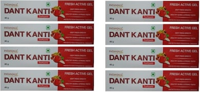Patanjali Dant Kanti Fresh Active Gel Toothpaste (80GM, Pack of 8)