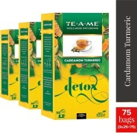 TE-A-ME Detox Cardamom Turmeric Herbal Tea (50GM, Pack of 3, 75 Pieces)